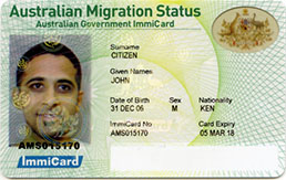 Australian Migration Status ImmiCard example