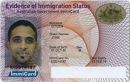 Evidence of Immigration Status ImmiCard example